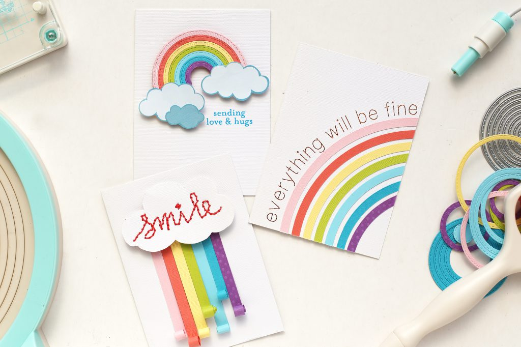 Learn 3 ways to make rainbow handmade cards with your favorite We R Memory Keepers craft tools.