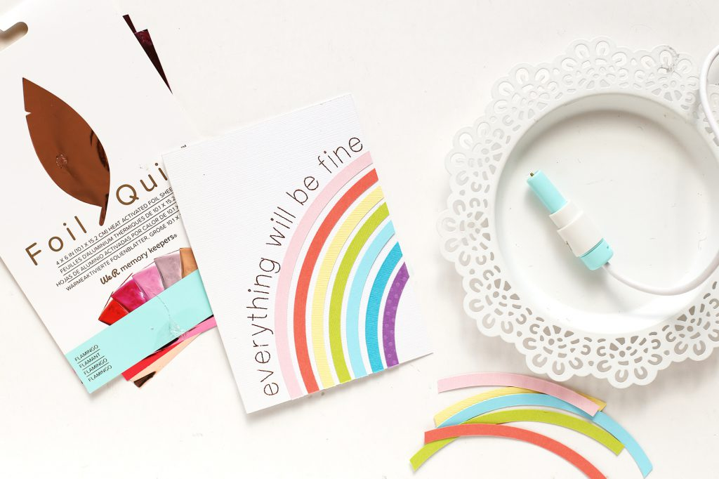 Learn how to make a rainbow handmade cards with the We R Memory Keepers Foil Quill and the Circle Spin & Trim.