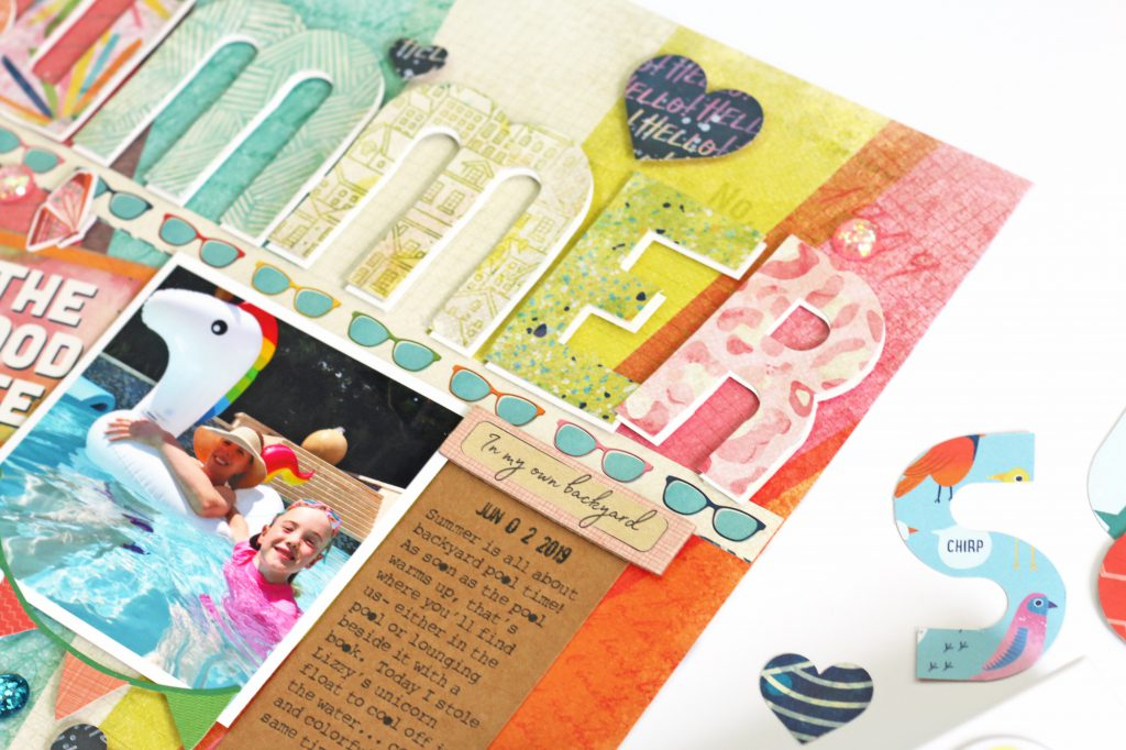 Make a summer scrapbook page with the We R Memory Keepers Mini Alphabet Punch Board!