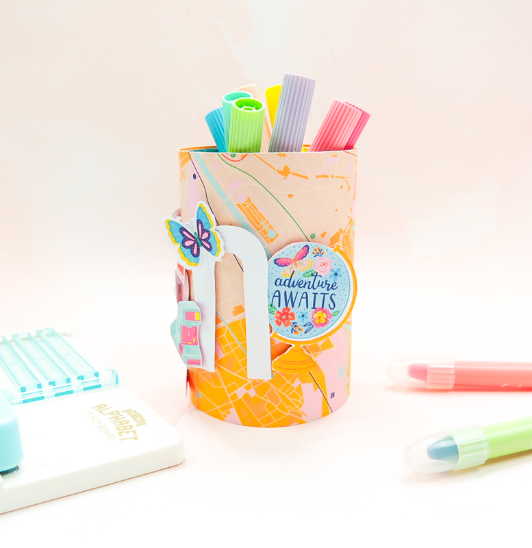 Make back to school pencil holders for your school supplies with the Mini Alphabet Punch Board by We R Memory Keepers!