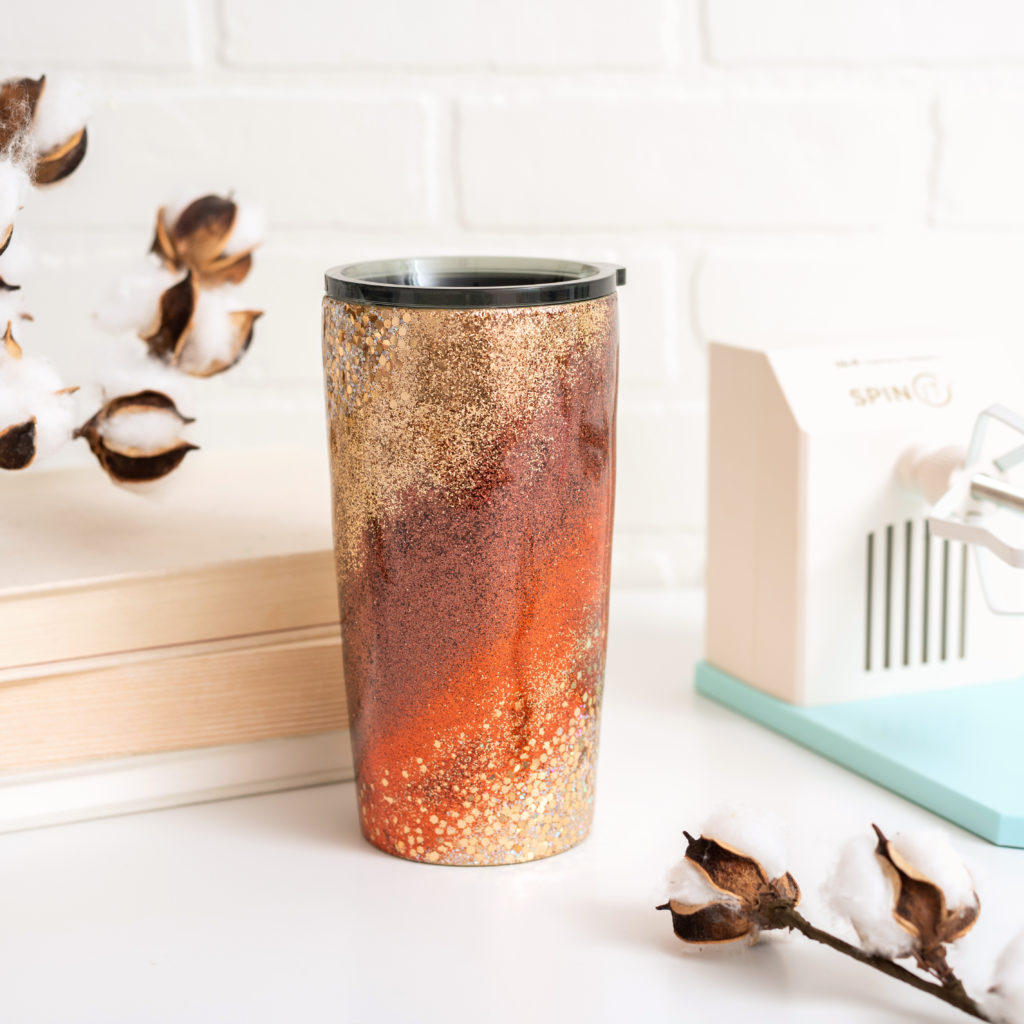 Fall Glitter Tumbler with the Spin It Tumbler Turner