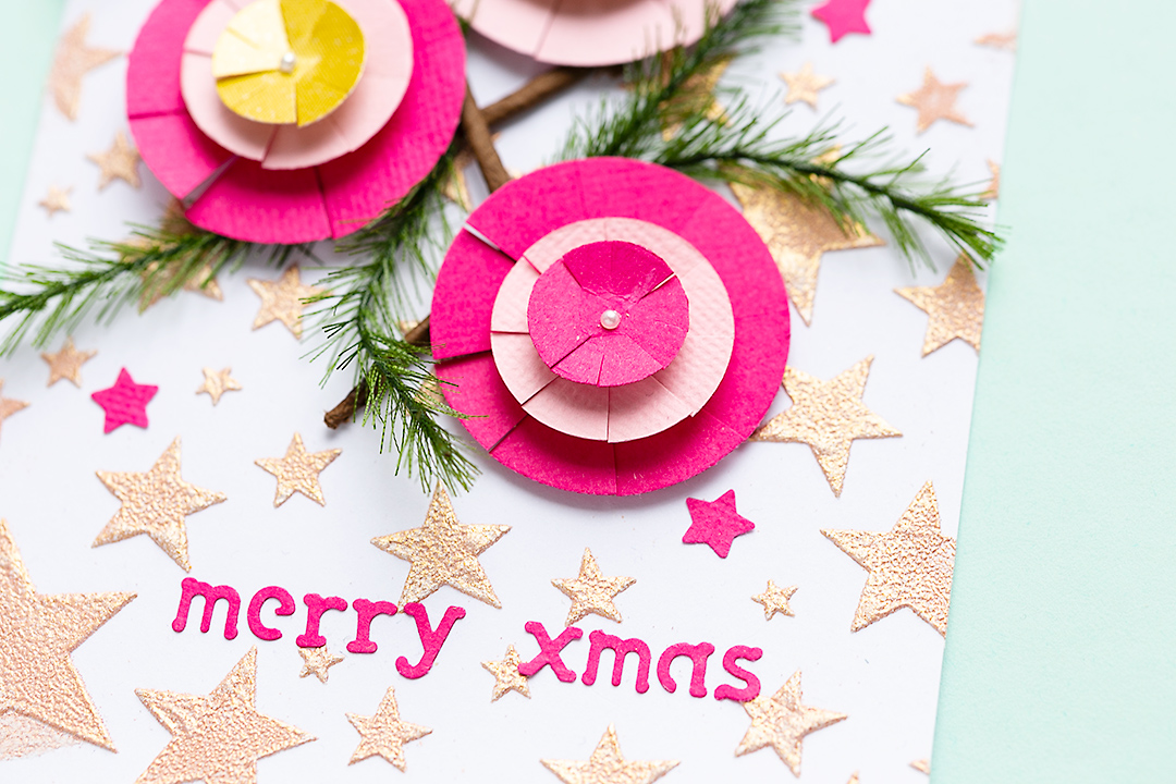 Christmas cards with circle ornaments and title 'merry xmas'.