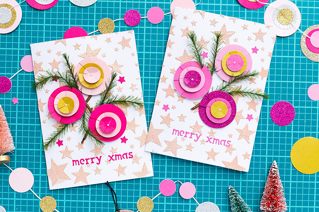 Embossed Christmas cards with handmade cirlce ornaments.