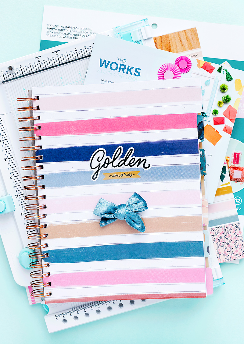 Make golden memories last forever with the All-in-one-Tool. Create a spiral bound organizer with tabs and your favorite patterned papers.