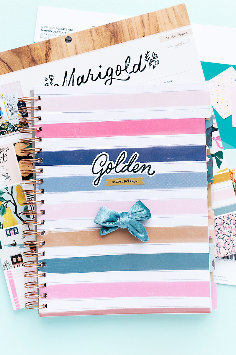 Organizer for 2021 made with patterned papers from Marigold, the Cinch, and the All-in-One-Tool.