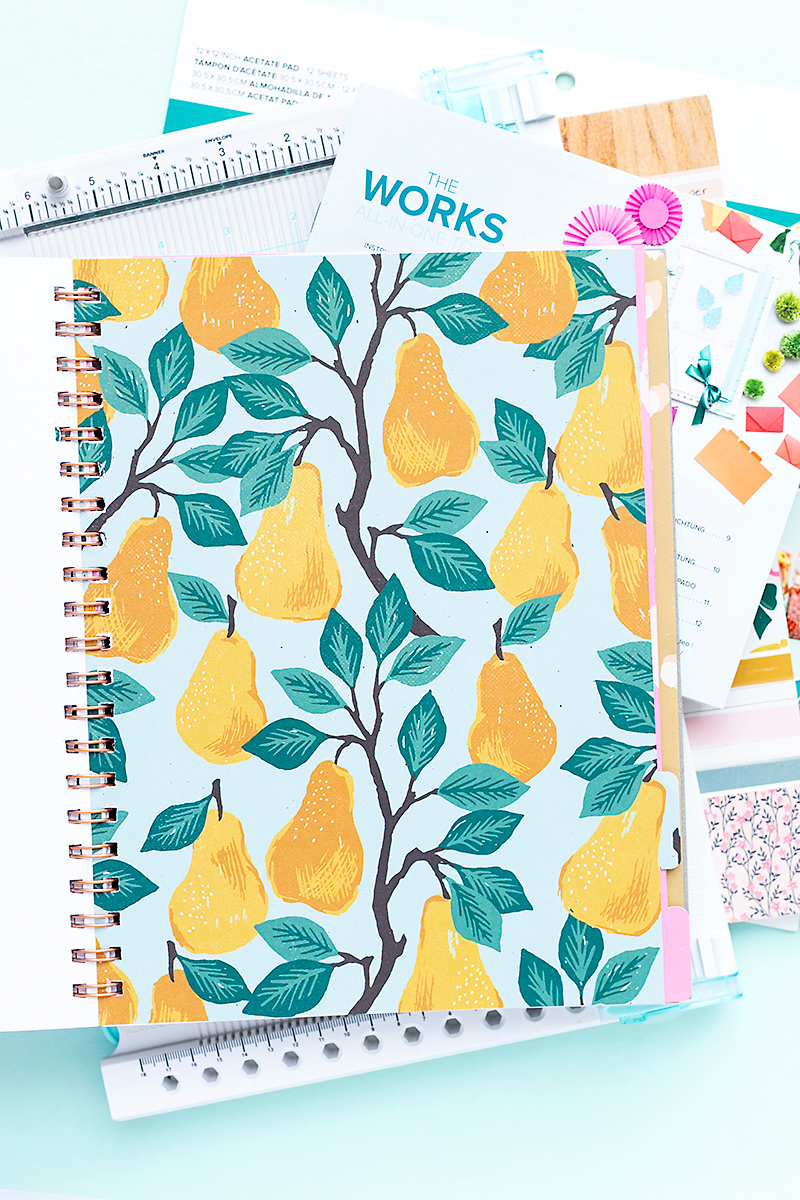 Tab divider made with the All-in-One-Tool showing a pretty design with pears.