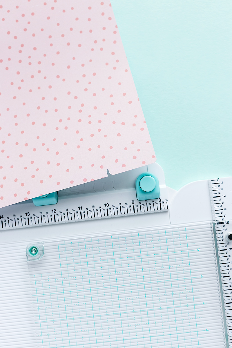 First step to create a tab divider from patterned paper with the All-in-One-Tool.