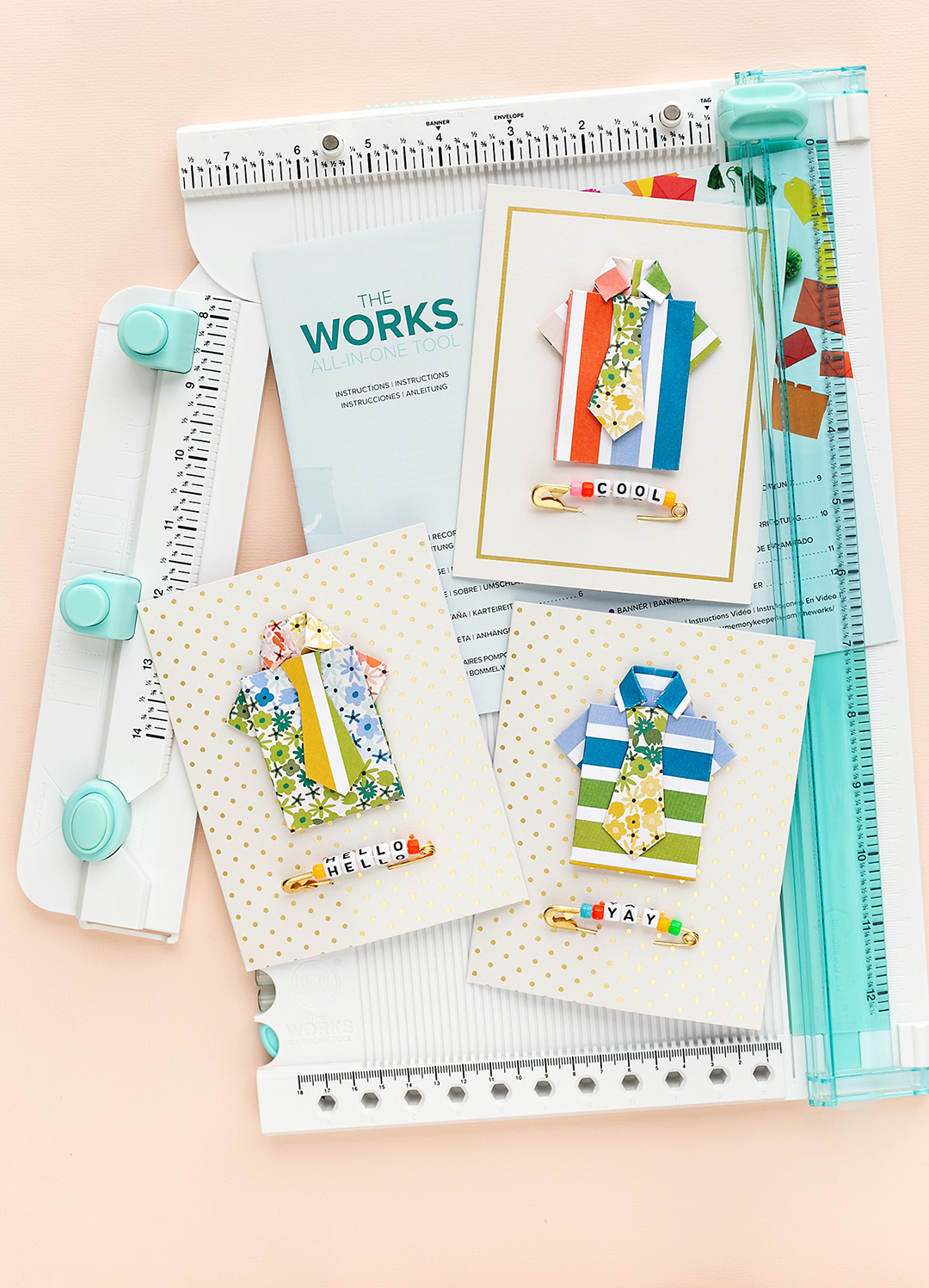 The Works All-In-One-Tool with three cards with shirts and ties. The shirts are colorful and modern. Cardmaking WRMK