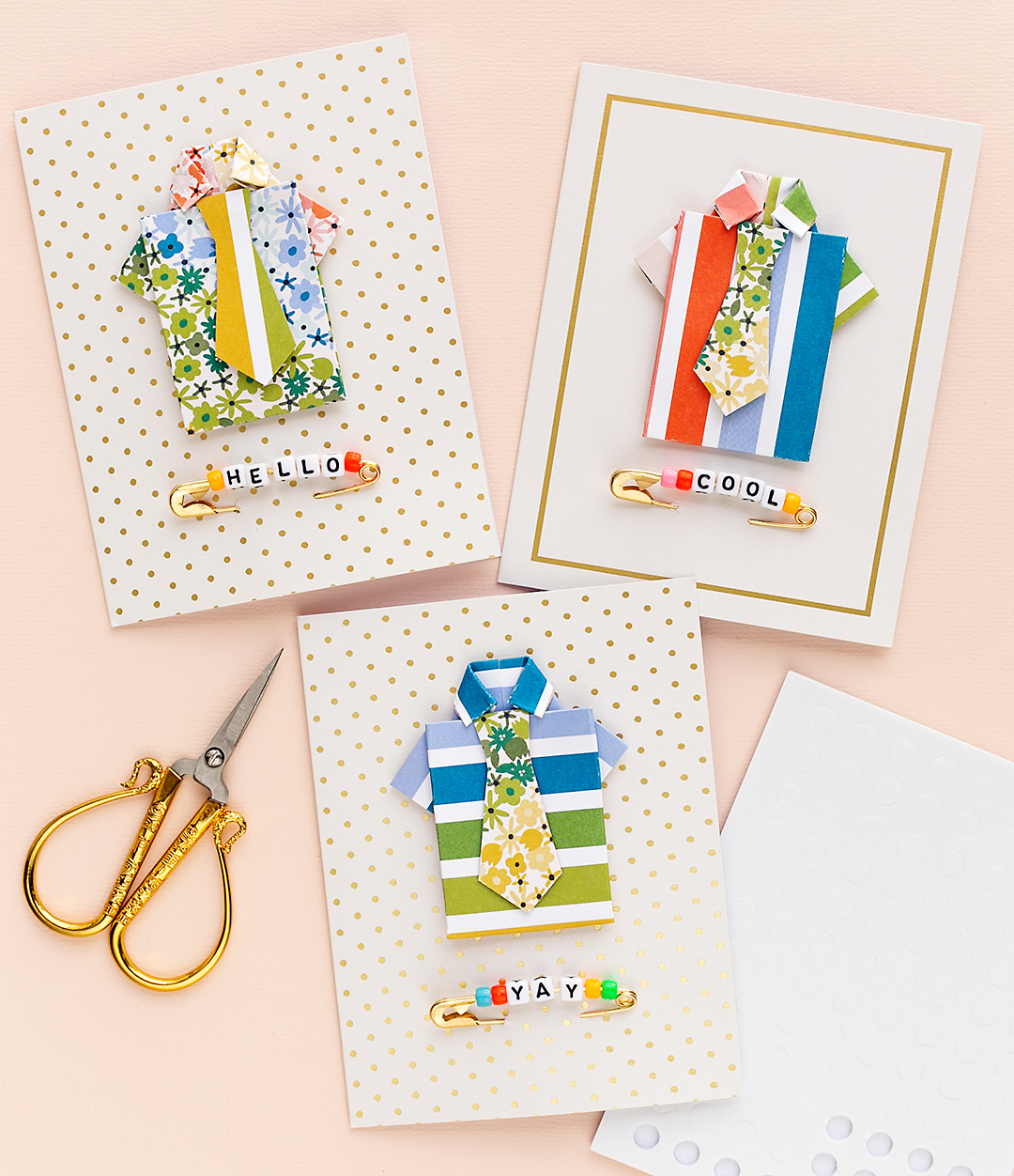 Three Father's Day cards with shirts and ties. Made with the Works All-In-One-Tool by We R Memory Keepers. Cardmaking Scrapbooking