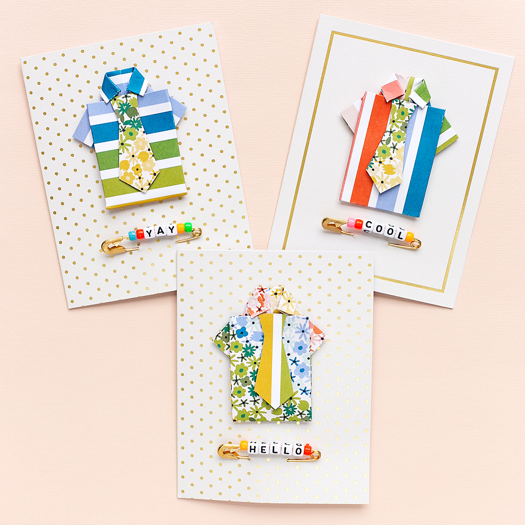 Happy Father's Day with three fun cards with handmade paper shirts and fancy ties. WRMK Sandra Dietrich Cardmaking
