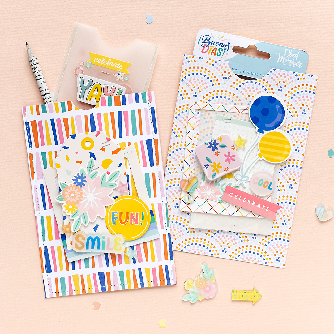 DIY inspiration party goodie bags with Buenos Dias. Two pockets with fun embellishments are now ready to be given to your guests. Pockets created by Sandra Dietrich for We R Memory Keepers.